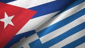Ткань ткани флагов Кубы и Греции 2, текстура ткани иллюстрация вектора