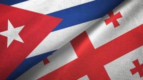Ткань ткани флагов Кубы и Грузии 2, текстура ткани иллюстрация штока