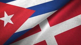 Ткань ткани флагов Кубы и Дании 2, текстура ткани бесплатная иллюстрация
