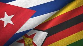 Ткань ткани флагов Кубы и Зимбабве 2, текстура ткани бесплатная иллюстрация