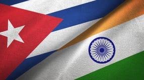 Ткань ткани флагов Кубы и Индии 2, текстура ткани иллюстрация вектора
