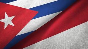 Ткань ткани флагов Кубы и Индонезии 2, текстура ткани иллюстрация штока