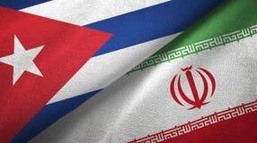 Ткань ткани флагов Кубы и Ирана 2, текстура ткани бесплатная иллюстрация