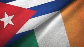 Ткань ткани флагов Кубы и Ирландии 2, текстура ткани бесплатная иллюстрация