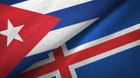 Ткань ткани флагов Кубы и Исландии 2, текстура ткани иллюстрация штока