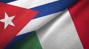 Ткань ткани флагов Кубы и Италии 2, текстура ткани иллюстрация штока