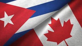 Ткань ткани флагов Кубы и Канады 2, текстура ткани иллюстрация вектора
