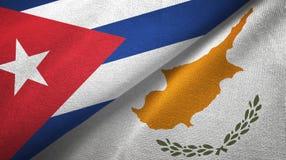 Ткань ткани флагов Кубы и Кипра 2, текстура ткани иллюстрация вектора