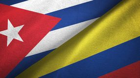 Ткань ткани флагов Кубы и Колумбии 2, текстура ткани иллюстрация штока
