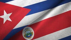 Ткань ткани флагов Кубы и Коста-Рика 2, текстура ткани бесплатная иллюстрация
