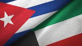 Ткань ткани флагов Кубы и Кувейта 2, текстура ткани иллюстрация вектора