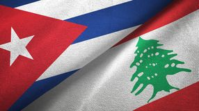 Ткань ткани флагов Кубы и Ливана 2, текстура ткани иллюстрация штока