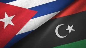 Ткань ткани флагов Кубы и Ливии 2, текстура ткани бесплатная иллюстрация