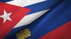 Ткань ткани флагов Кубы и Лихтенштейна 2, текстура ткани бесплатная иллюстрация