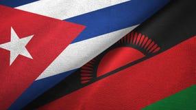Ткань ткани флагов Кубы и Малави 2, текстура ткани бесплатная иллюстрация