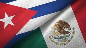 Ткань ткани флагов Кубы и Мексики 2, текстура ткани иллюстрация вектора