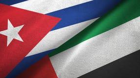 Ткань ткани флагов Кубы и Объениненных Арабских Эмиратов 2, текстура ткани бесплатная иллюстрация