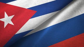 Ткань ткани флагов Кубы и России 2, текстура ткани иллюстрация штока