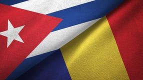 Ткань ткани флагов Кубы и Румынии 2, текстура ткани иллюстрация штока