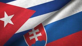 Ткань ткани флагов Кубы и Словакии 2, текстура ткани иллюстрация вектора