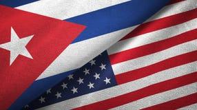 Ткань ткани флагов Кубы и Соединенных Штатов 2, текстура ткани иллюстрация штока