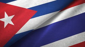 Ткань ткани флагов Кубы и Таиланда 2, текстура ткани бесплатная иллюстрация