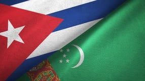 Ткань ткани флагов Кубы и Туркменистан 2, текстура ткани бесплатная иллюстрация