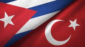 Ткань ткани флагов Кубы и Турции 2, текстура ткани бесплатная иллюстрация
