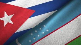 Ткань ткани флагов Кубы и Узбекистана 2, текстура ткани иллюстрация вектора