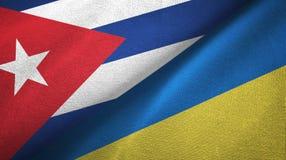Ткань ткани флагов Кубы и Украины 2, текстура ткани иллюстрация вектора