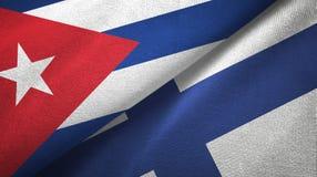 Ткань ткани флагов Кубы и Финляндии 2, текстура ткани бесплатная иллюстрация