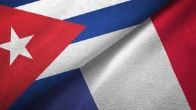 Ткань ткани флагов Кубы и Франции 2, текстура ткани бесплатная иллюстрация