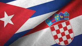 Ткань ткани флагов Кубы и Хорватии 2, текстура ткани иллюстрация штока