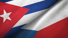 Ткань ткани флагов Кубы и чехии 2, текстура ткани бесплатная иллюстрация