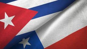 Ткань ткани флагов Кубы и Чили 2, текстура ткани иллюстрация штока