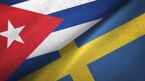 Ткань ткани флагов Кубы и Швеции 2, текстура ткани бесплатная иллюстрация