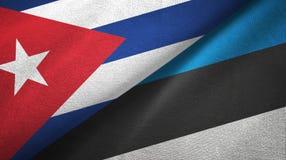 Ткань ткани флагов Кубы и Эстонии 2, текстура ткани бесплатная иллюстрация