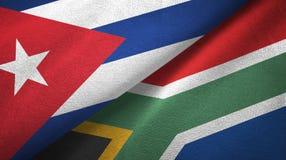 Ткань ткани флагов Кубы и Южной Африки 2, текстура ткани иллюстрация вектора