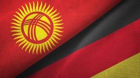 Ткань ткани флагов Кыргызстана и Германии 2, текстура ткани иллюстрация штока
