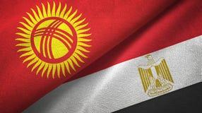 Ткань ткани флагов Кыргызстана и Египта 2 иллюстрация вектора