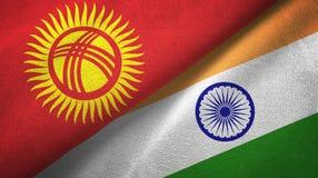 Ткань ткани флагов Кыргызстана и Индии 2, текстура ткани иллюстрация штока
