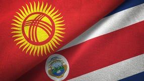 Ткань ткани флагов Кыргызстана и Коста-Рика 2, текстура ткани иллюстрация штока