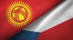 Ткань ткани флагов Кыргызстана и чехии 2, текстура ткани бесплатная иллюстрация