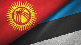 Ткань ткани флагов Кыргызстана и Эстонии 2, текстура ткани иллюстрация вектора