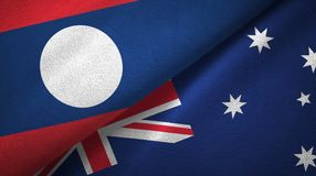 Ткань ткани флагов Лаоса и Австралии 2, текстура ткани иллюстрация вектора