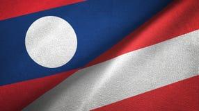Ткань ткани флагов Лаоса и Австрии 2, текстура ткани иллюстрация вектора