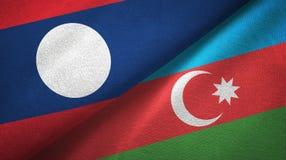 Ткань ткани флагов Лаоса и Азербайджана 2, текстура ткани иллюстрация вектора