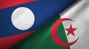 Ткань ткани флагов Лаоса и Алжира 2, текстура ткани иллюстрация штока
