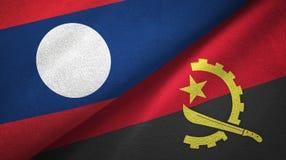 Ткань ткани флагов Лаоса и Анголы 2, текстура ткани бесплатная иллюстрация