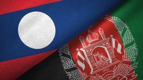 Ткань ткани флагов Лаоса и Афганистана 2, текстура ткани иллюстрация вектора